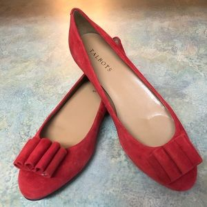 Talbots Red Narrow Flats with Bow Detail